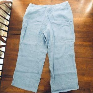 J. Jill 100% Linen Sky Blue Pull On Pants